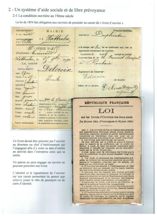 Carnet ouvrier prévu par la loi du 22 juin 1954