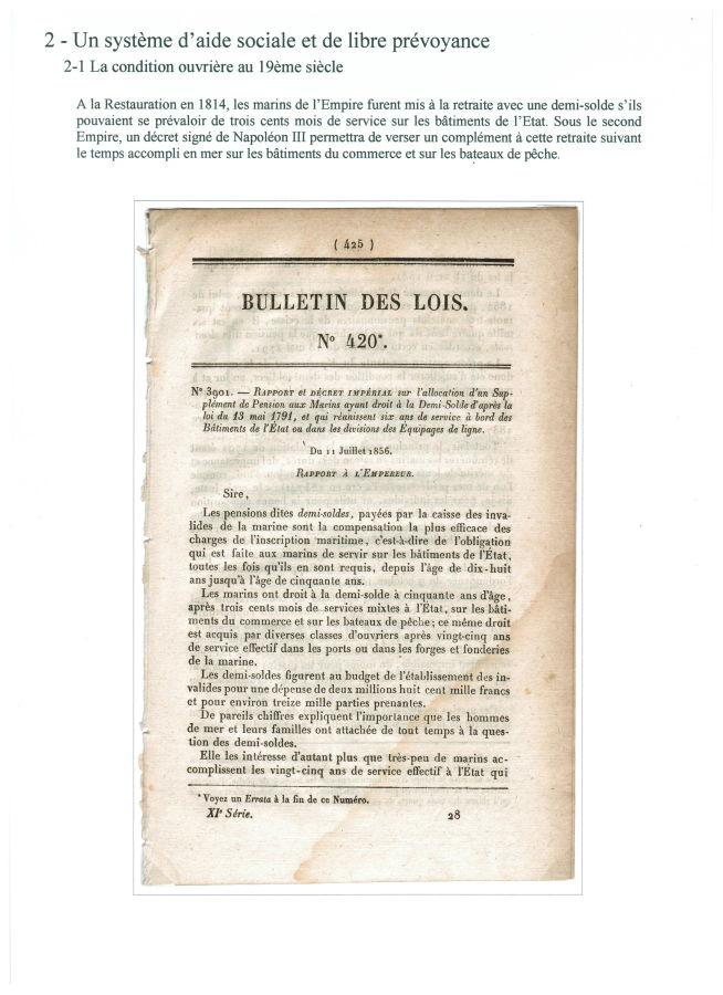 En 1856, supplément de pension aux marins en demi-solde
