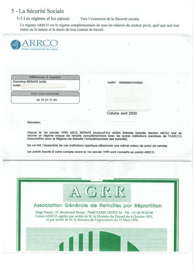 Régimes complémentaires retraite ARRCO